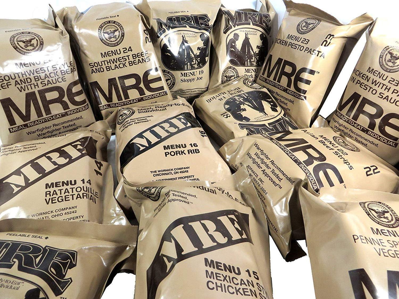 MRE - Ración de comida militar, lista para comer, del ejército de Estados Unidos, diferentes menús