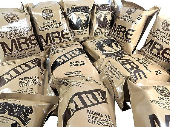 MRE - Ración de comida militar, lista para comer, del ejército de Estados Unidos, diferentes menús: Amazon.es: Deportes y aire libre
