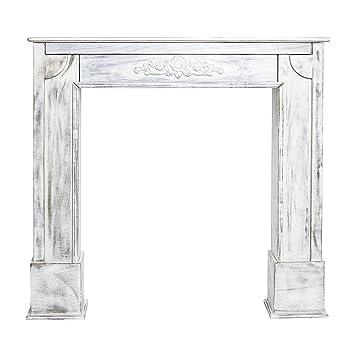 Mobili Rebecca® Kaminumrandung Verkleidung Holz Weiß Shabby Design Bad  (Cod. RE4863)