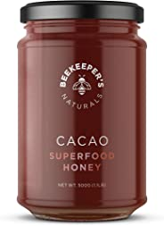 BEEKEEPER'S NATURALS Superfood Cacao Honey - Raw Honey with Organic, Raw Ecuadorian Cacao, Filled with Antioxidants, Iron and