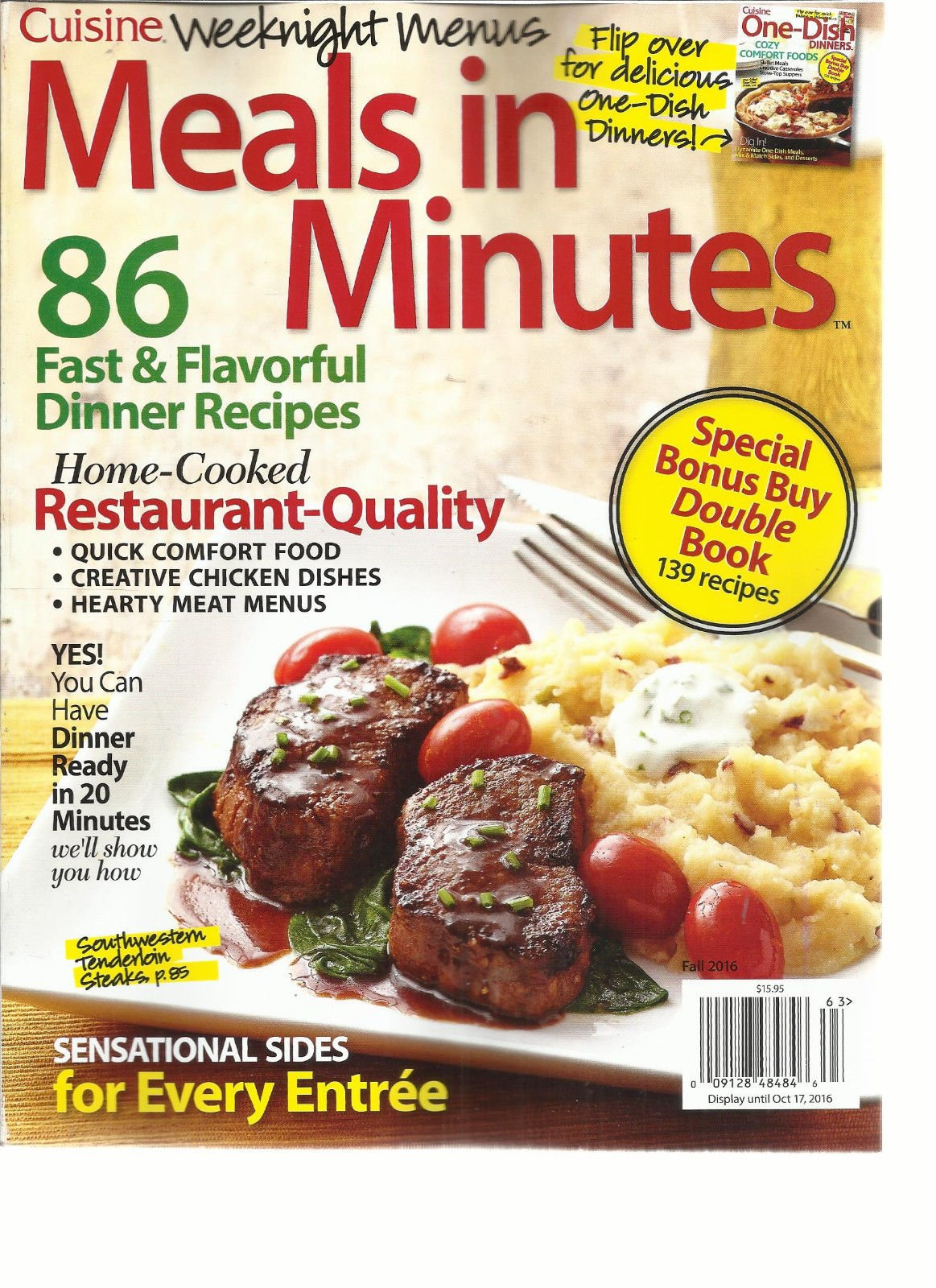 CUISINE WEEKNIGHT MENUS MEALS IN MINUTES/ONE DISH DINNERS ISSUE, 2016