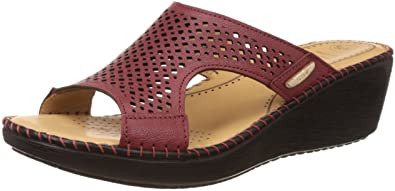050d78806d2c Scholl Women s Laser Mule Wedge Red Leather Slippers - 3 UK India (36 EU