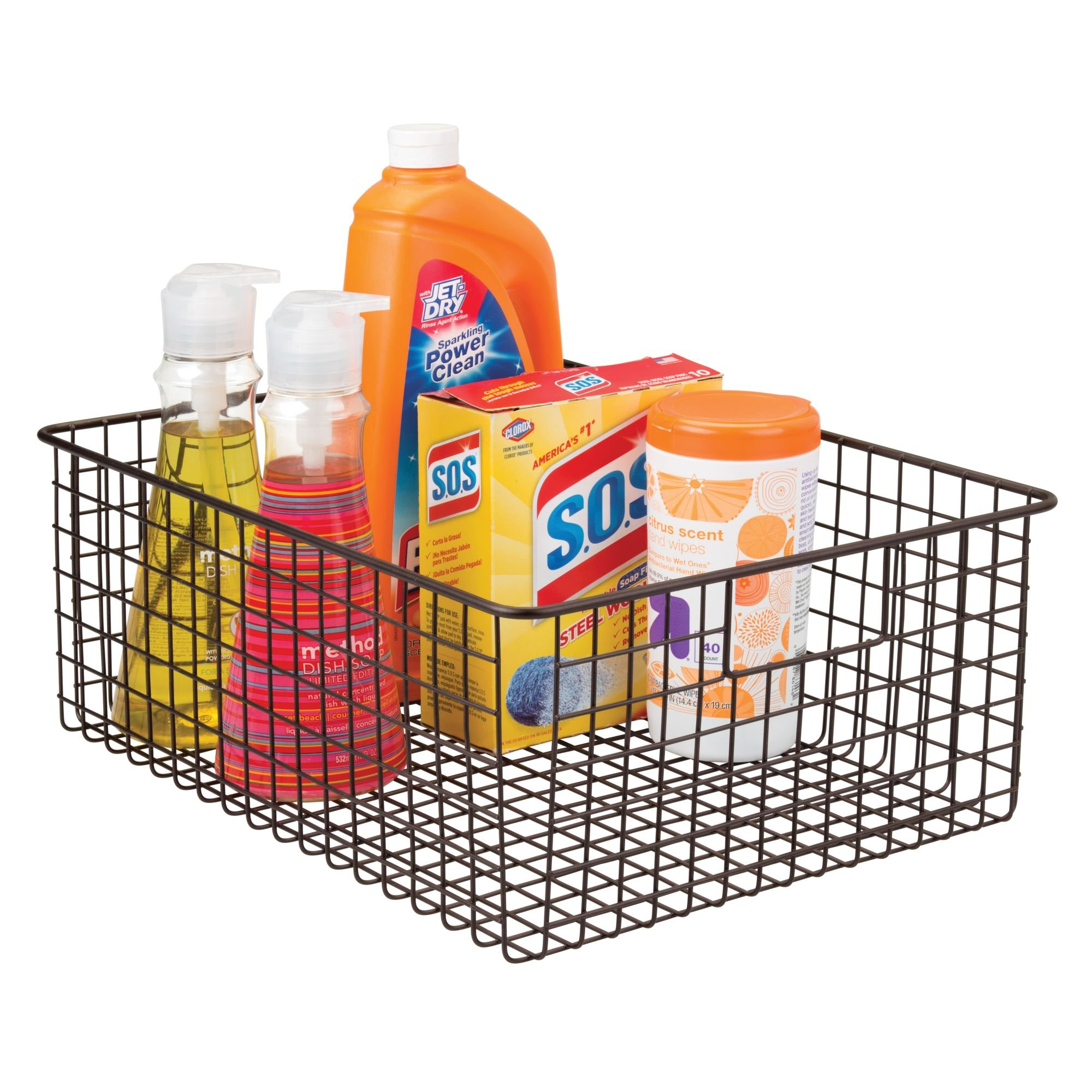mDesign Wire Organizing Storage Basket with Built-In Handles - 16'' x 12'' x 6'', Bronze by mDesign (Image #3)