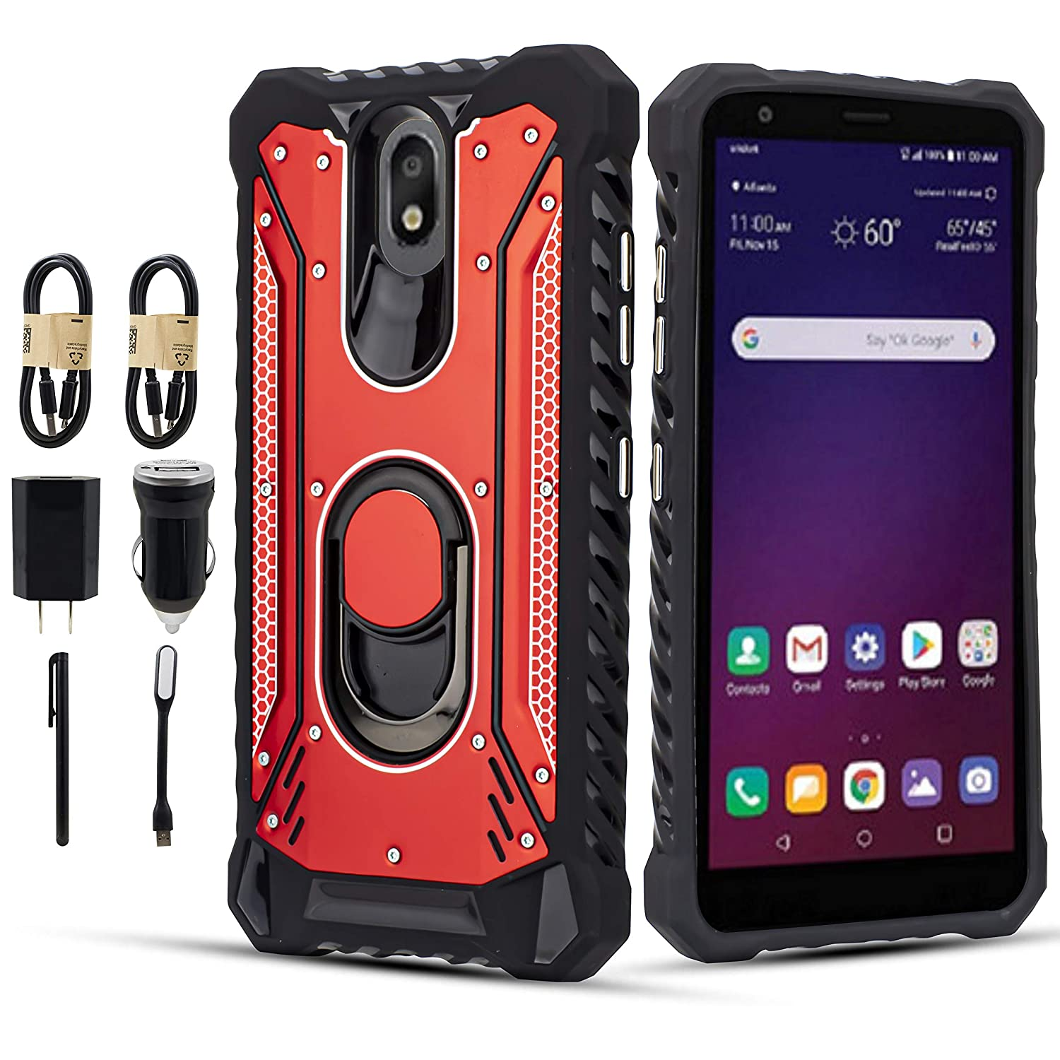 for LG Aristo 4+ Plus, Escape Plus/Prime 2/Arena 2/Tribute Royal/Journey LTE/K30 2019 Aviation Aluminum Metal Armor Metal Jacket Kickstand Rugged Cover with Metal Plate Accessory (Red)