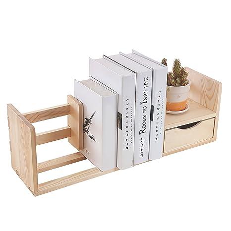 Amazon Unfinished Natural Wood Desktop Bookshelf Storage Shelf Rack With Drawer Kitchen Dining