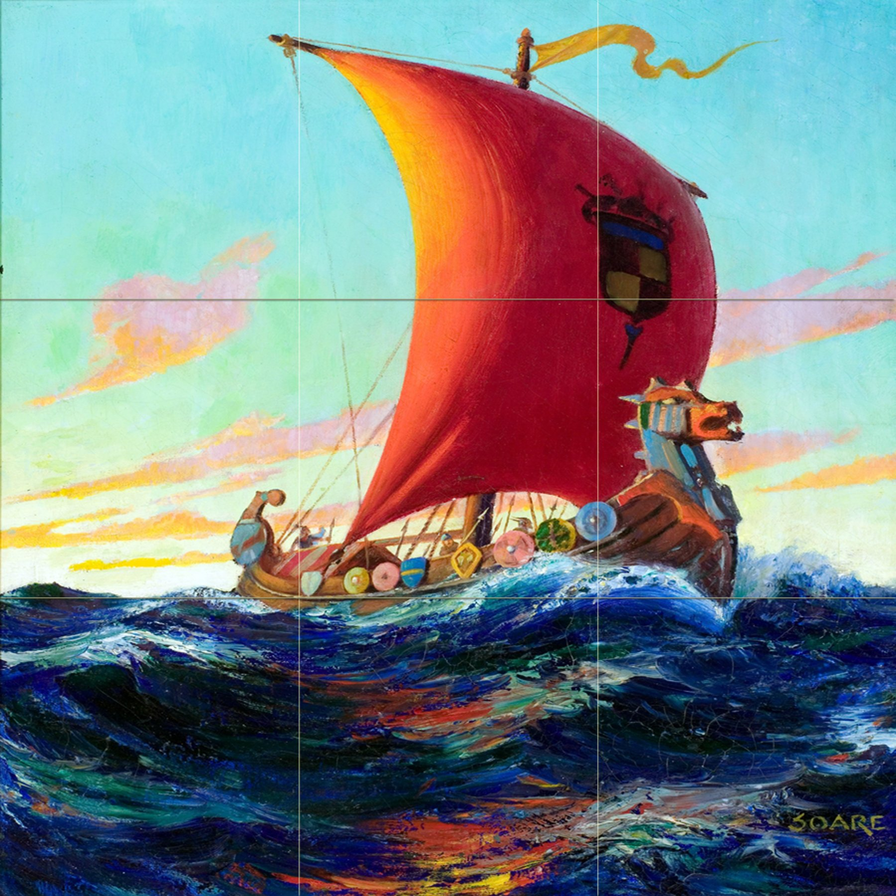 Seascape pirate ship captain's boat sea waves by William Fulton Soare Tile Mural Kitchen Bathroom Wall Backsplash Behind Stove Range Sink Splashback 3x3 6'' Marble, Matte by FlekmanArt