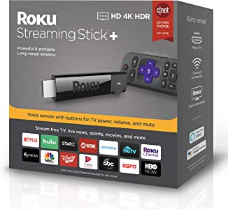 Roku Streaming Stick+ | HD/4K/HDRStreaming Devicewith Long-range Wireless and Voice Remote with TV Power and Volume