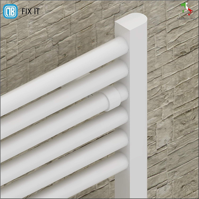 Tuyaux /Ø22 mm Supports avec pince pour radiateurs s/èche-serviettes Blanc Tenue 75 Kg