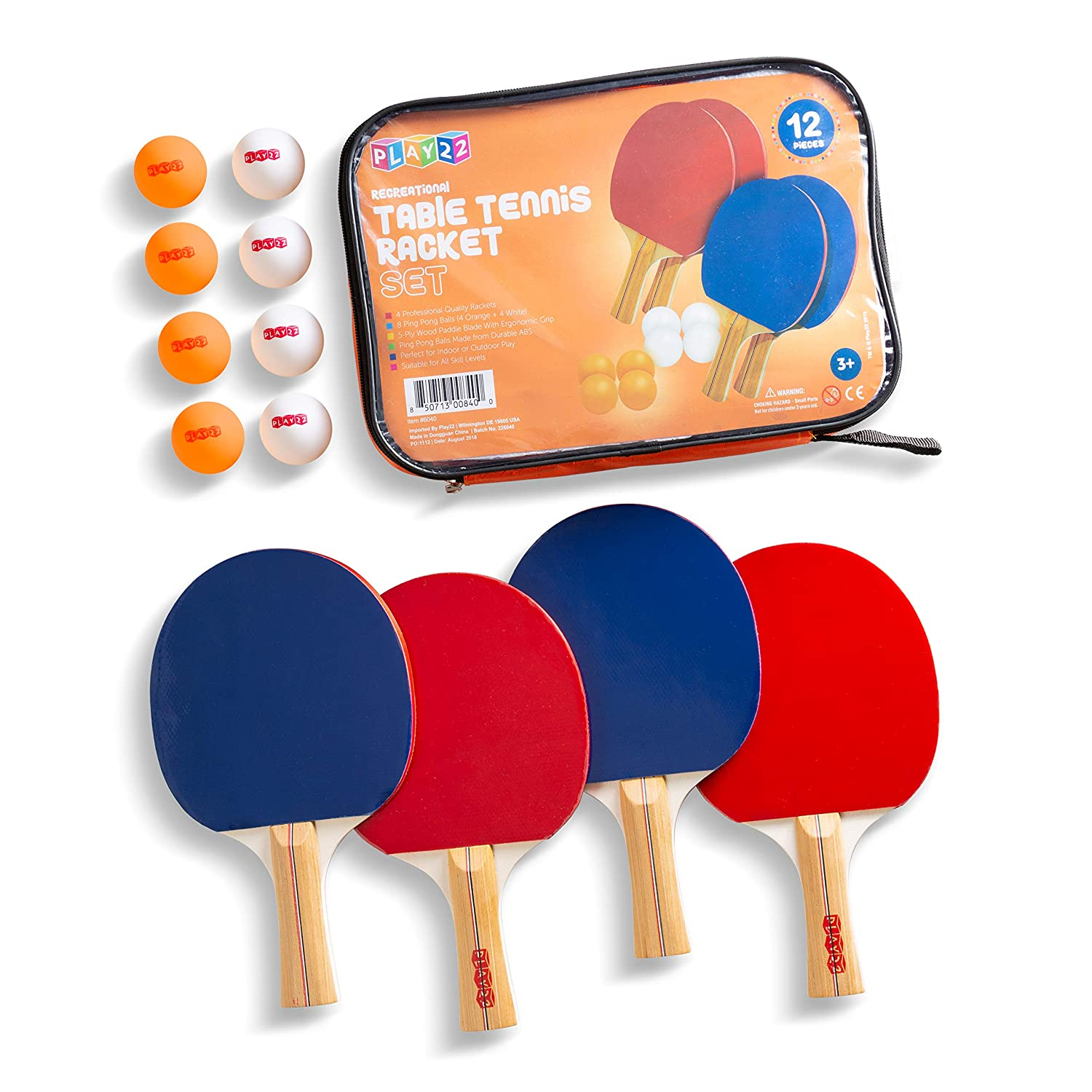 Play22 Ping Pong Paddle Set - 4 Table Tennis Paddles and 8 Ping Pong Balls and Portable Gift Case - Best Gift for Boys and Girls, Adults - Great for ...