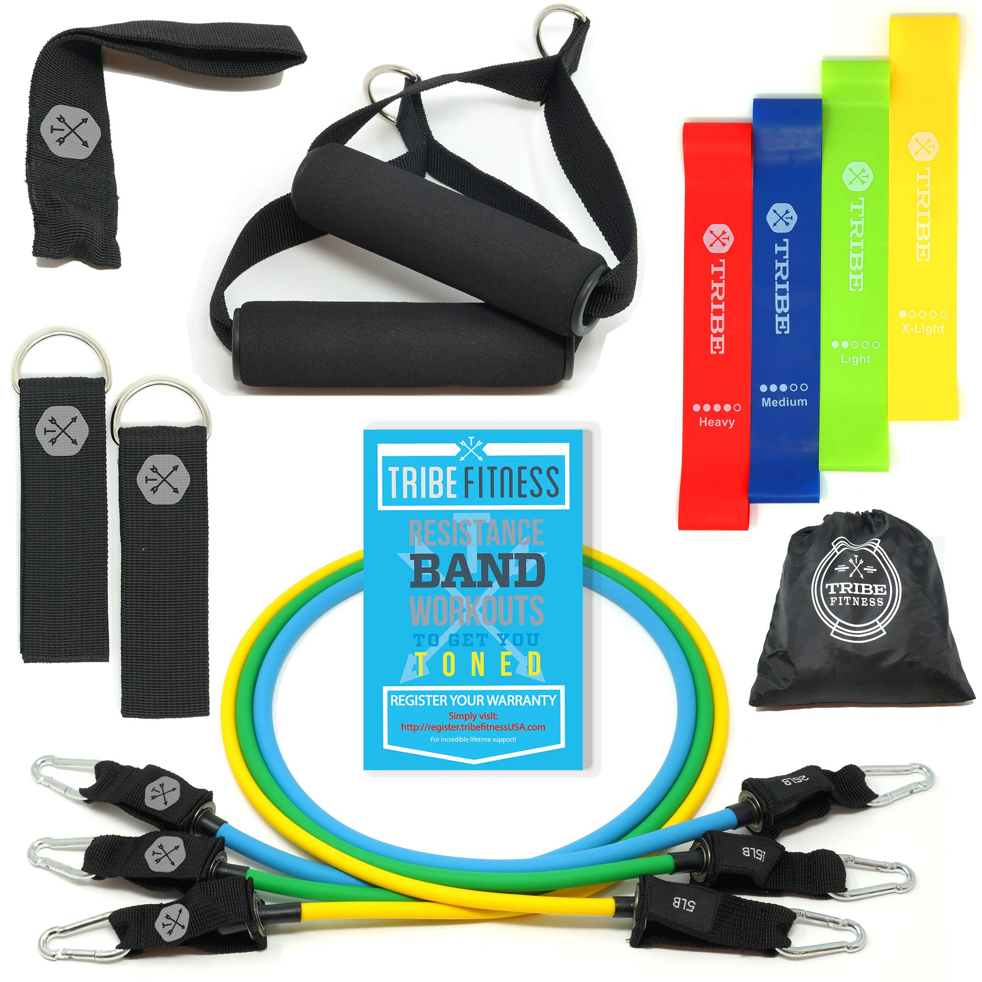 Tribe Resistance Bands Set, Exercise Bands for Working Out - Includes Stackable Workout Tube Bands, Resistance Loop Bands, Handles, Ankle Straps, Door Anchor, Carry Bag & Advanced Exercise eBook