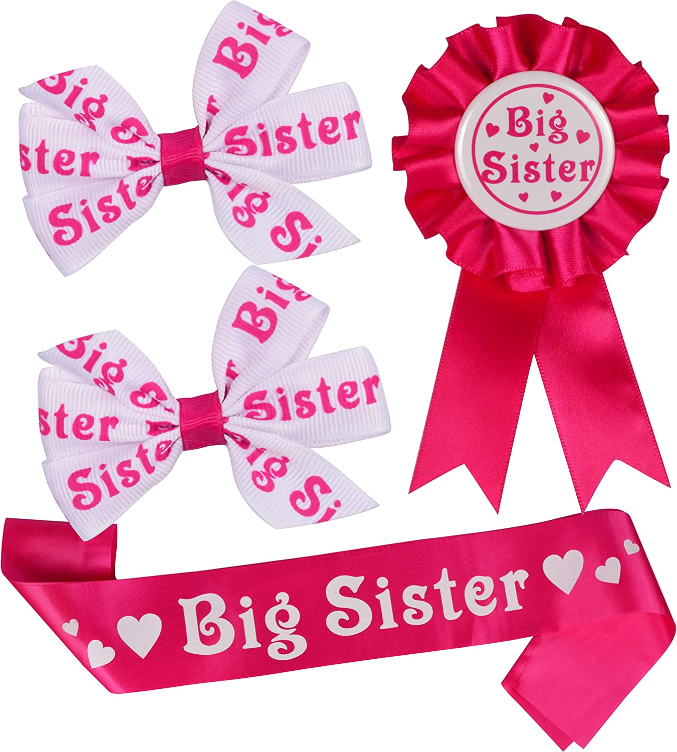 Amazon Com Big Sister For Baby Shower Sash Big Sister Hair Clips Big Sister Pin Daughter Get Promoted To Big Sisters Idea Gift Set I Am Going To Be Big Sister Big Sister