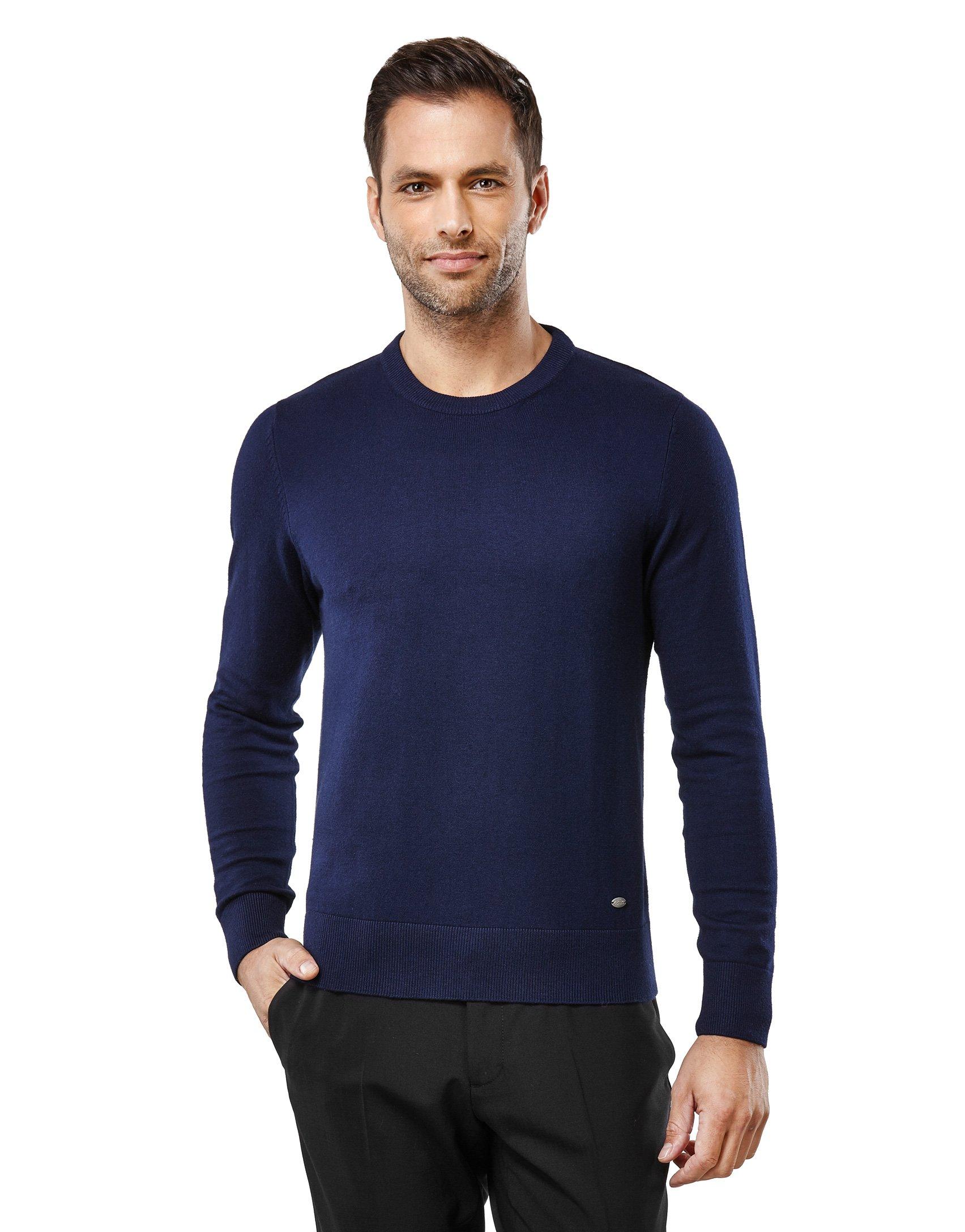 Vincenzo Boretti Men's Classic Knit Sweater Crew Neck Slim-fit Dark Blue Medium