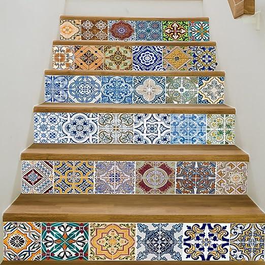 QTZS Creativo Pegatinas De Escalera DIY Pegatinas De Azulejos Escaleras Decoración: Amazon.es: Hogar