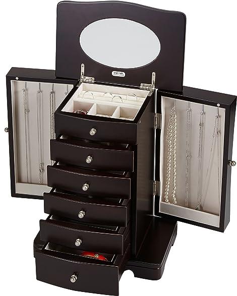 Amazoncom Seya Modern Wooden Jewelry Box Organizer with Mirror