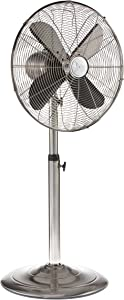 """Oscillating Standing Floor Fan - Whisper Quiet Cooling Pedestal Fan, Adjustable 37-49 Inches Height, Large 16"""" Indoor Pedestal Fan for Your Bedroom, Office, Shop, House (Black Pearl) (Silver)"""