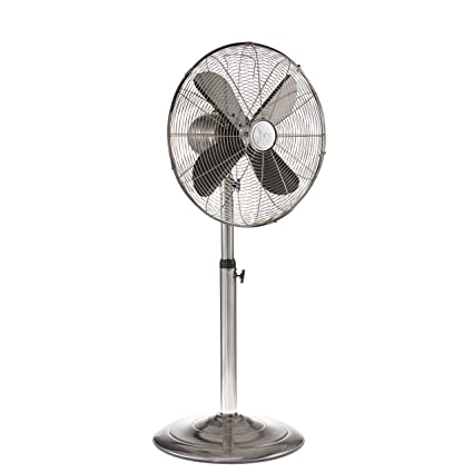 Oscillating standing floor fan on pedestal vintage retro metal design whisper quiet cooling by