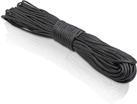 CoverUp! cuerda paracord 550 de 7 hilos - cuerda resistente - 31 metros de cordino paracord con una cubierta de cuerda extremadamente robusta (negro)