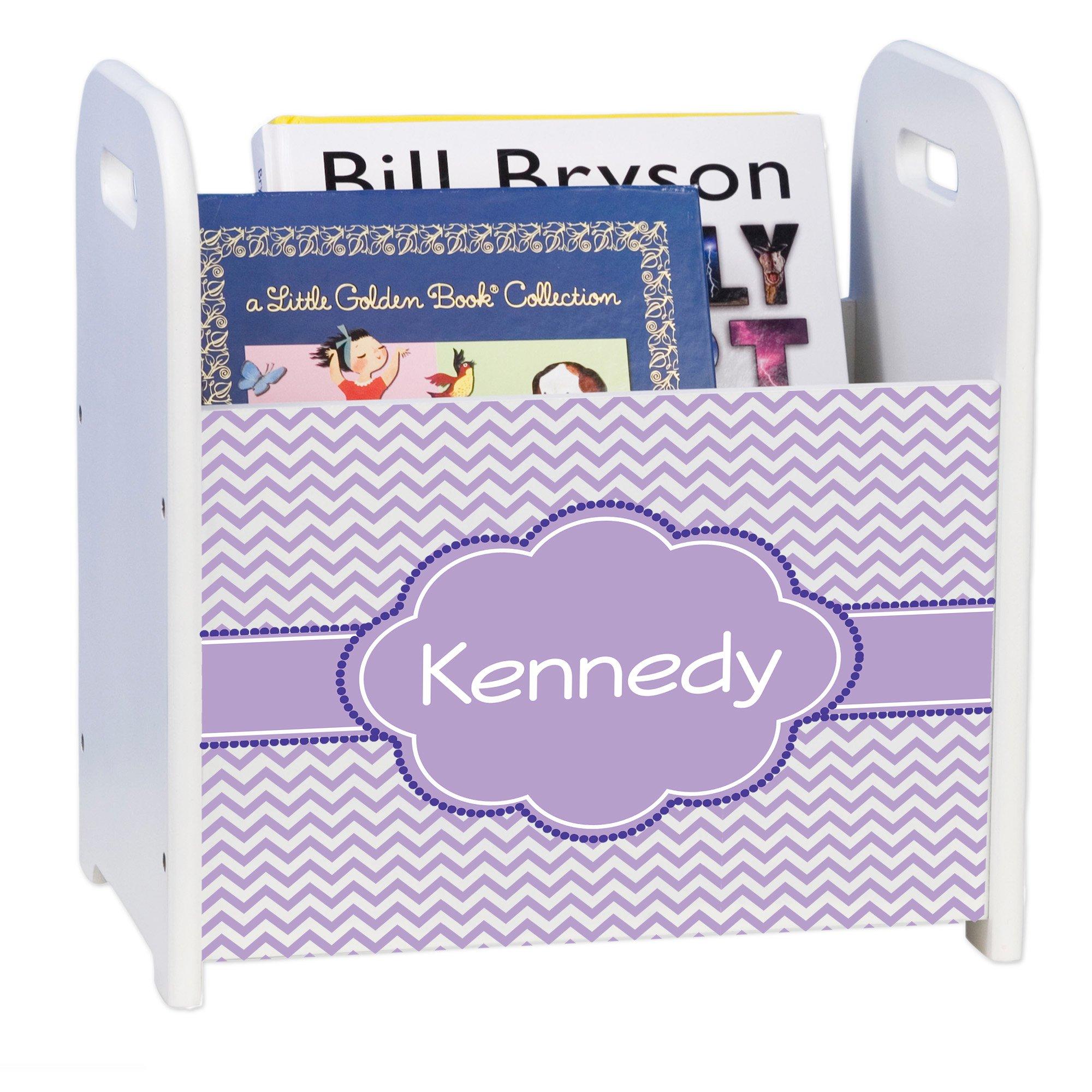 Personalized Lavender Chevron w Purple White Book Caddy and Rack