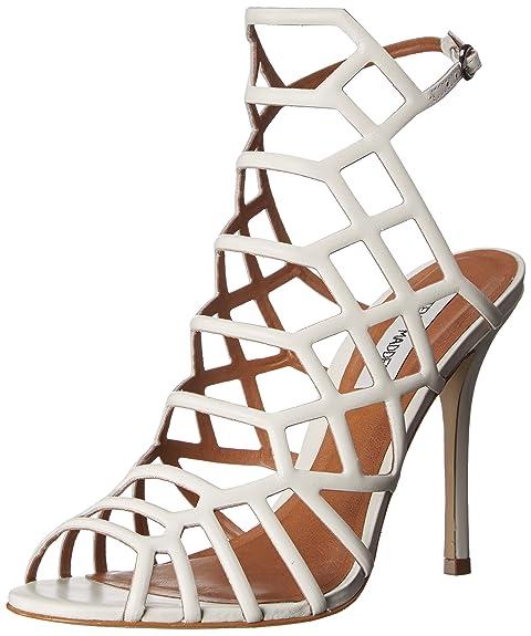 4365c690185 Steve Madden Women's Slithur Dress Sandal, White Leather, 6.5 M US ...