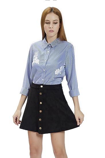 b1132ac1f8 Women's Faux Suedettte Button Closure Plain A-line Mini Skirt, High Waist  Faux Suede