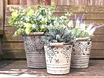 French Vintage Style Set of 3 Metal Garden Planters Containers Flower Pots Vases & French Vintage Style Set of 3 Metal Garden Planters Containers ...
