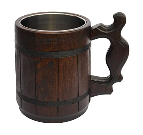 a4945e4ce Handmade Beer Mug Oak Wood Stainless Steel Cup Carved Natural Beer Stein  Old-Fashioned Brown
