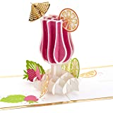 Hallmark Signature Paper Wonder Pop Up Congratulations or Birthday Card (Cheers, Tropical Drink)