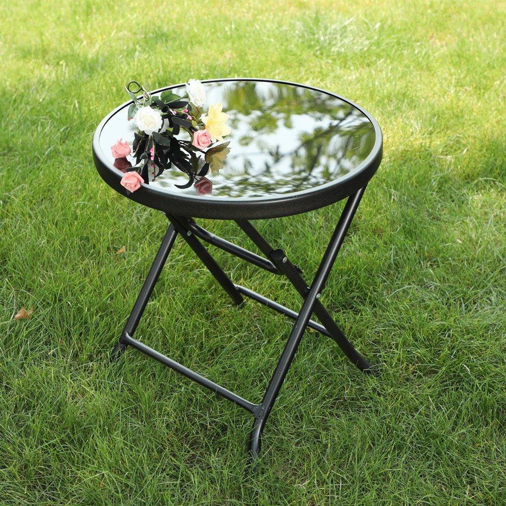 Captiva Designs 18'' Patio Small Side Table-Little Folding Glass Table, Black