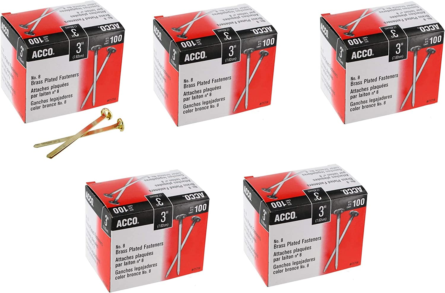 Plated ACCO Brass Paper Fasteners 100 Fasteners//Box 1 Box 1/""
