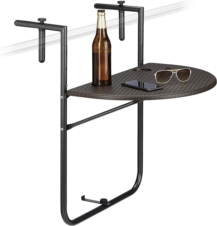 Bianco Relaxdays Tavolino per Balcone Pieghevole Modello Bastian in Ottica Rattan 63x60x84 cm