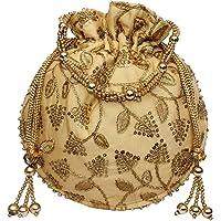 Milan's Creation : Designer Embroidered Potli Bag With Pearls Handle Party Purse Women's Handbag Wristlets Wedding Gift New Golden