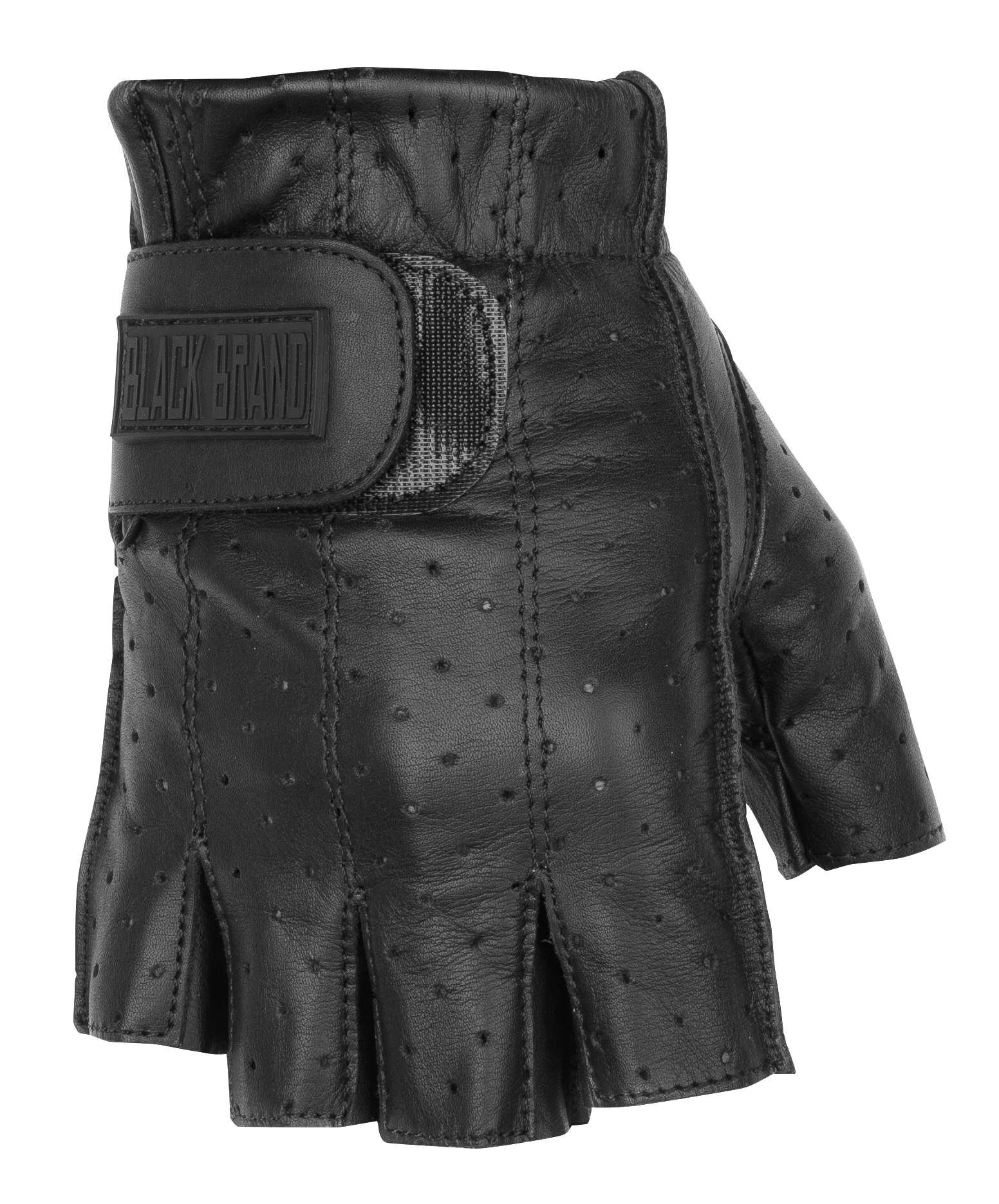 Black Brand Men's Leather Classic Shorty Motorcycle Gloves (Black, X-Large)