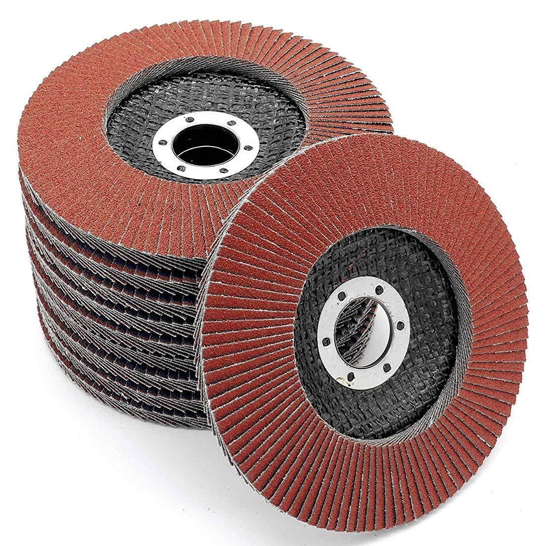 Pack of 10, Serrated Washer 115 mm, 40 Grit, Abrasive Flap Wheel, Abrasive Mop Disc FD-Workstuff