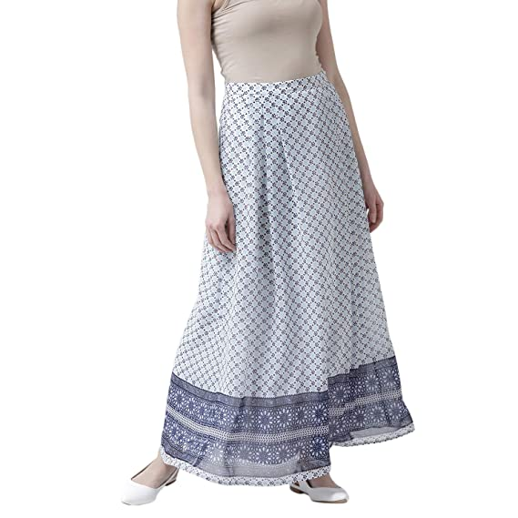 3b283ce3c THE VANCA Synthetic a-line Skirt (SKFNN350339_White_Medium): Amazon.in:  Clothing & Accessories