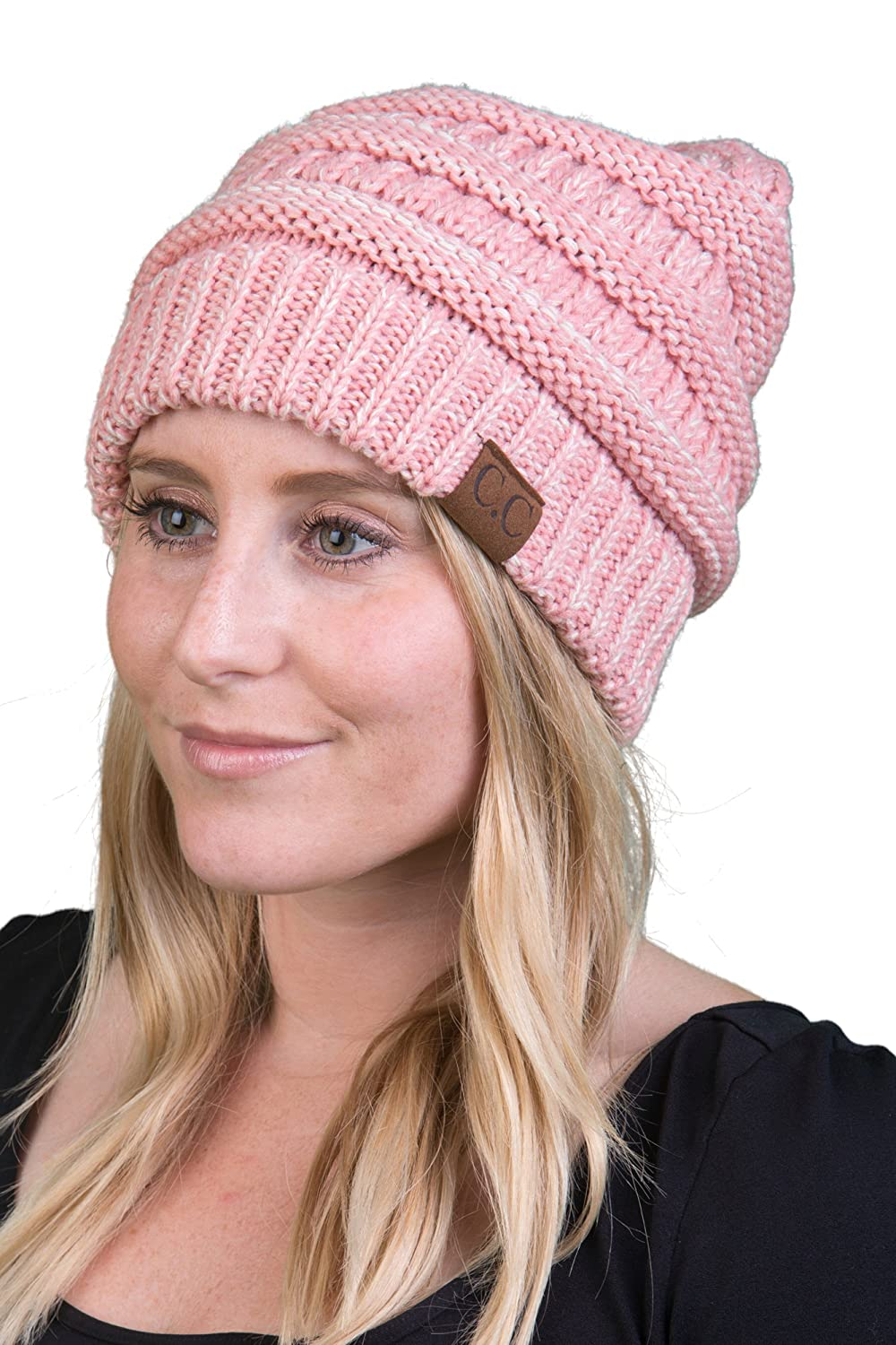 Funky Junque Trendy Warm Chunky Soft Marled Cable Knit Slouchy Beanie