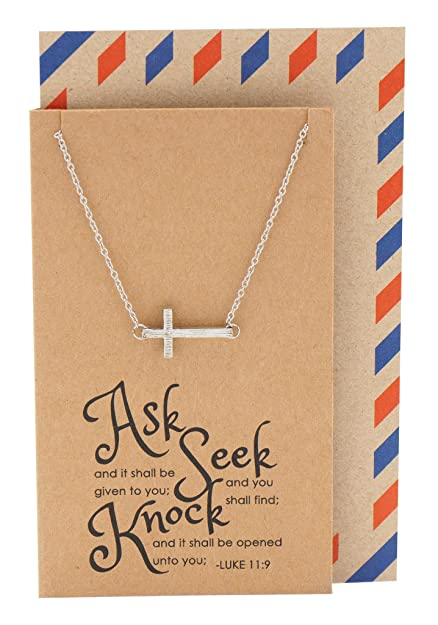 Amazon Quan Jewelry Religious Christian Sideways Cross Crucifix Necklace With Bible Quote Birthday Gift Card Gifts For Women Sister Mother
