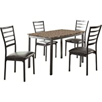 Deals on Homelegance 5-Piece Metal Dinette Set Laminated Faux Marble Top