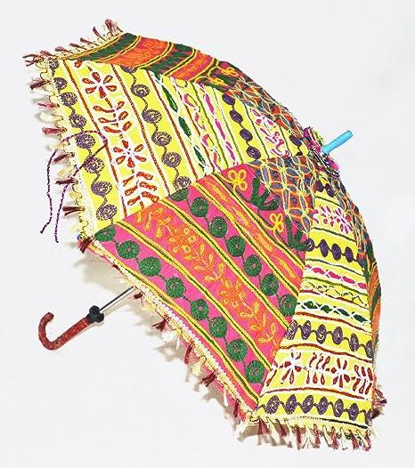 Algodón Ethnic para sombrilla paraguas Vintage bordado decorativo hecho a mano