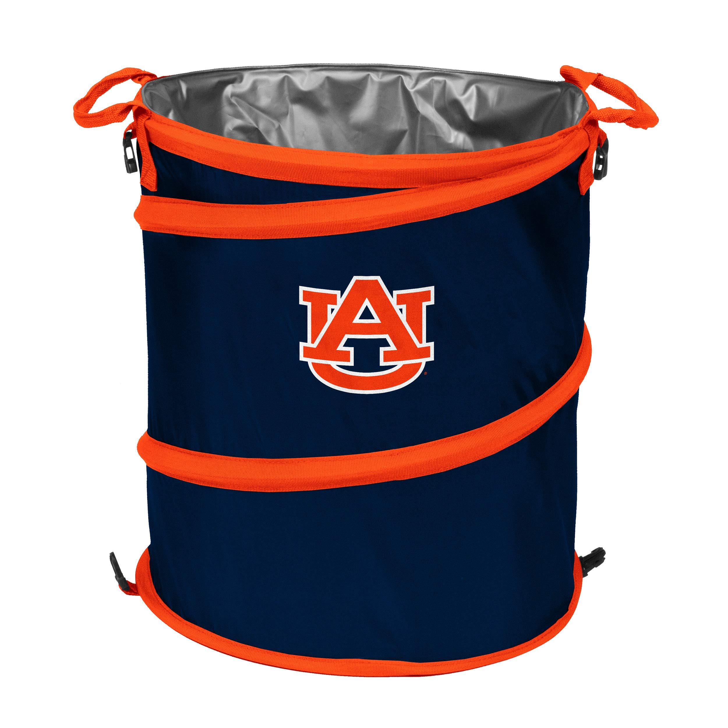 Logo Brands NCAA Auburn Tigers 3-n-1 Collapsible Trash Can, Orange