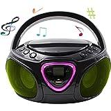CD-Player mit LED-Beleuchtung | Tragbares Stereo Radio | Kinder Radio | Stereo Radio | Stereoanlage | Bluetooth | USB | CD/MP3 Player | Radio | Kopfhöreranschluss | Aux in | LCD-Display | (Schwarz)