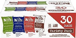 product image for Kettle Brand Potato Chips Variety Pack, Sea Salt & Vinegar, Krinkle Salt & Pepper, Backyard BBQ and Jalapeno, 30 Count
