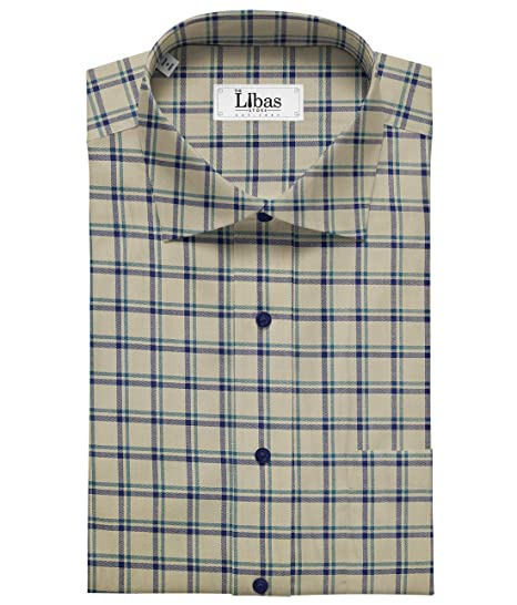 c08da5c2 Birla Century Men's Cotton Checks Unstitched Shirt Fabric (Buttermilk  Beige_1.60 M): Amazon.in: Clothing & Accessories