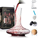 YouYah Wine Decanter Set with Drying Stand,Stopper,Brush and Beads,Red Wine Carafe,Wine Gift,Wine Aerator,Wine Accessories,Ha