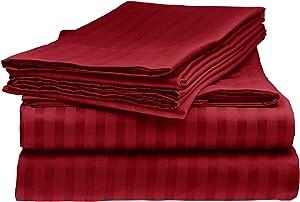 Sarah Ashley Elegante 1800 Premier Series Striped 4pc Queen Size Bed Sheet Set, Burgundy