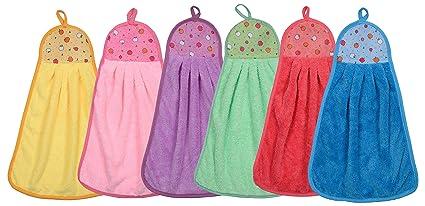 CETC Cotton Soft Touch Hand Face Basin Kitchen Towel Set Multi Colour (6)