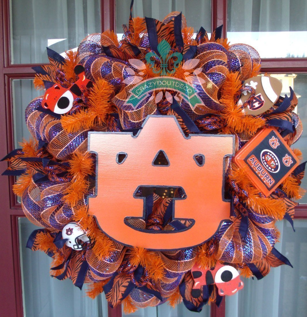Auburn Tigers Fan College Football Deco Mesh Door Wreath
