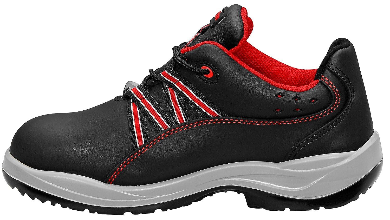 35 ELTEN LINDA red Low ESD S3 piel de vacuno, puntera de acero, entresuela de acero Zapatos de seguridad para mujer con aplicaciones rojas Negro