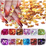 12 Colors Fall Leaf Glitter Nail Sequins - 3D Maple Leaf Holographic Nail Art Flakes Colorful Confetti Glitter Sticker…