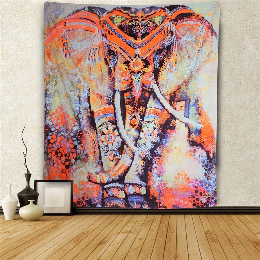 Elephant Tapestry Wall Hanging Tapestries Mandala Bohemian Tapestry Wall Tapestry Hippie Beach Flower Psychedelic Tapestry Indian Dorm Decor for Living Room Bedroom