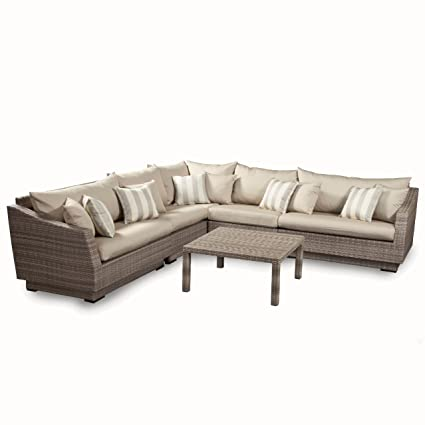 RST Brands 6 Piece Cannes Modular Sectional Sofa Patio Furniture Set, Slate  Gray